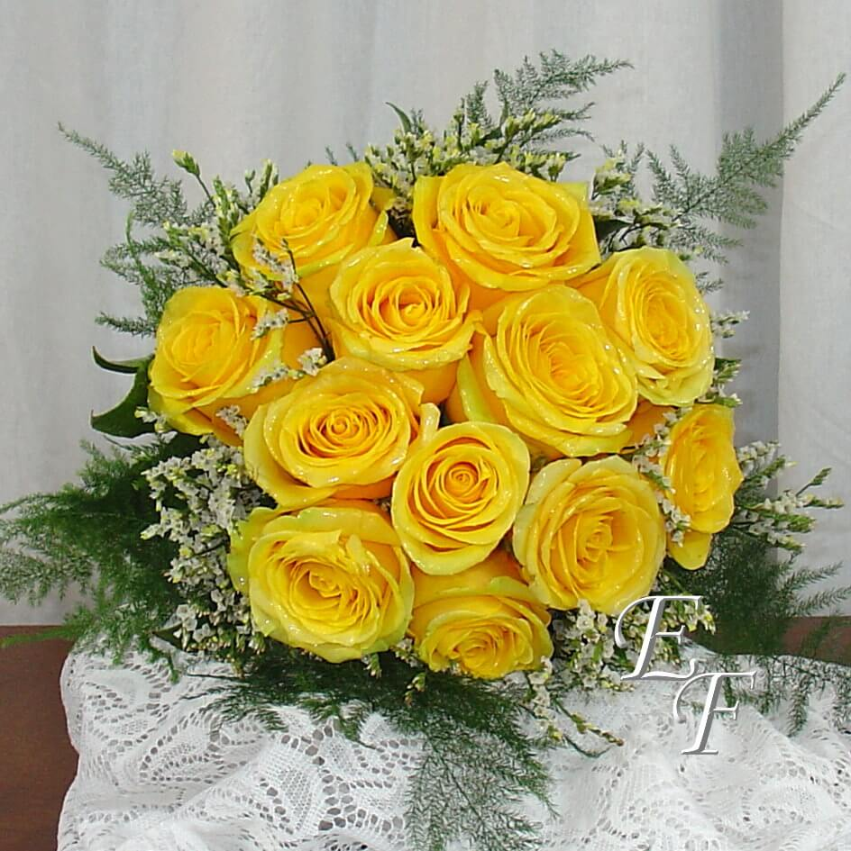 Yellow rose wedding bouquet ef essex florist
