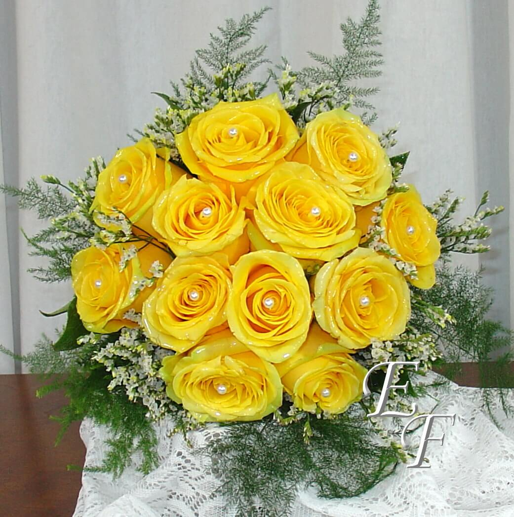 Wedding Flowers Yellow Roses: Yellow Rose Wedding Bouquet EF-705