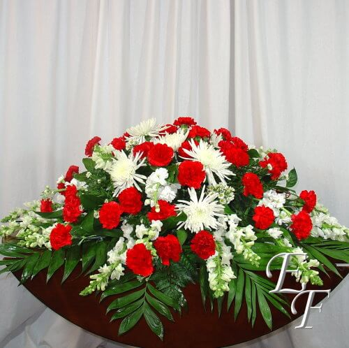 Mixed Red & White Casket Spray Web 500