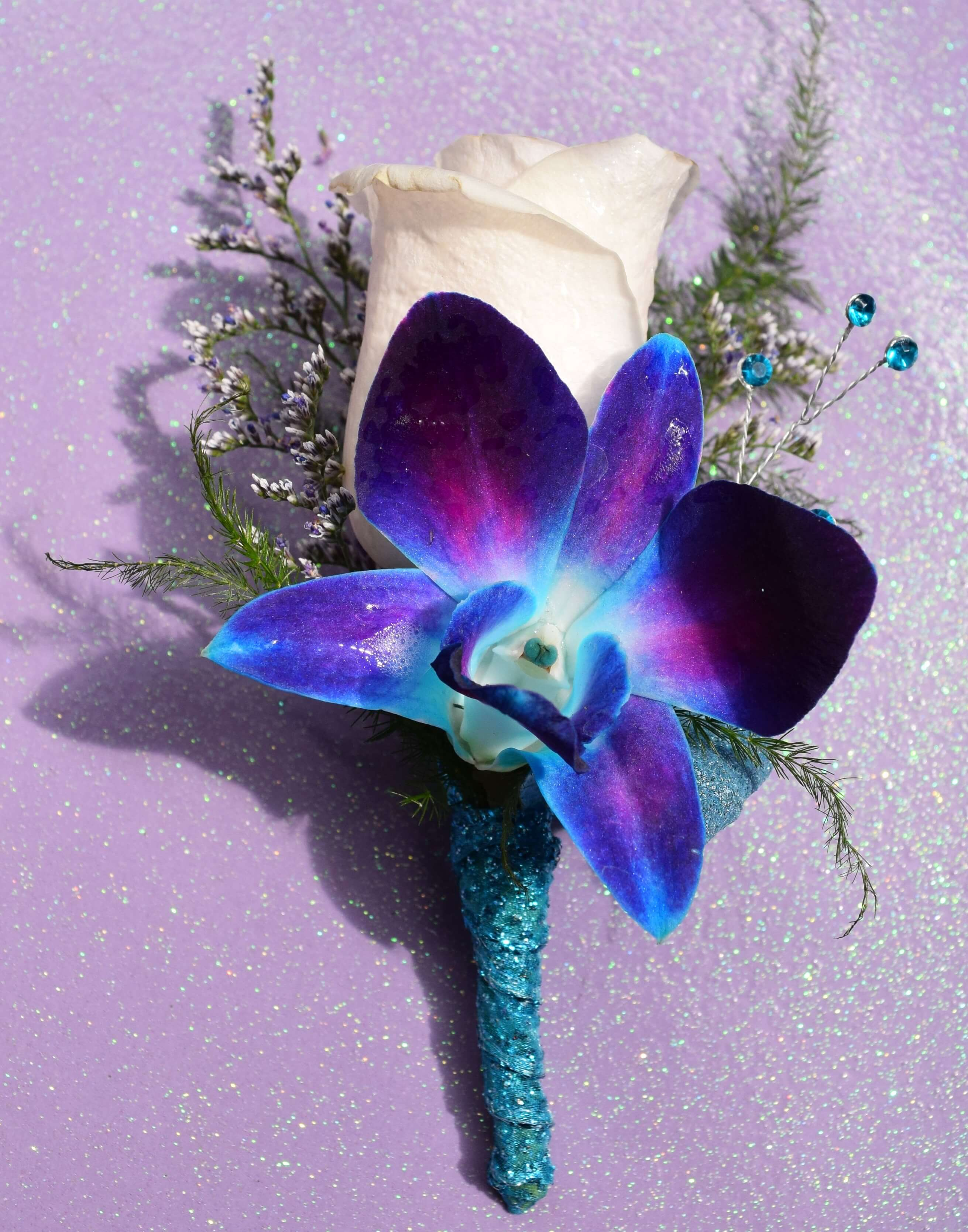 Deluxe blue orchids sweetheart rose corsage ef 817 essex florist blue orchid bout izmirmasajfo