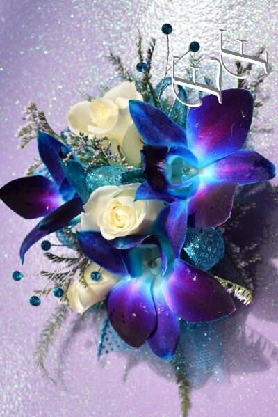 Deluxe Blue Orchids Sweetheart Rose Corsage Ef 817 Essex Florist