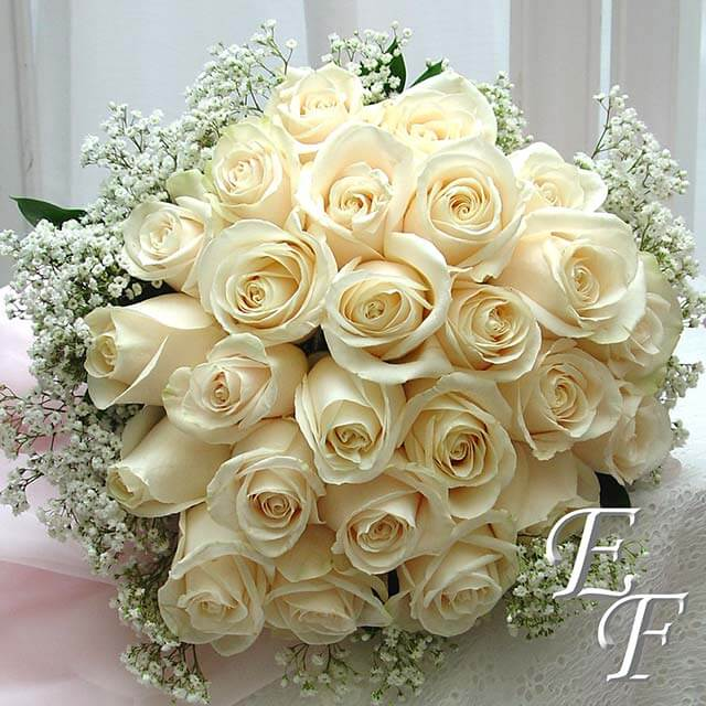 White Wedding Bouquets: 24 White Rose Bridal Bouquet EF-722