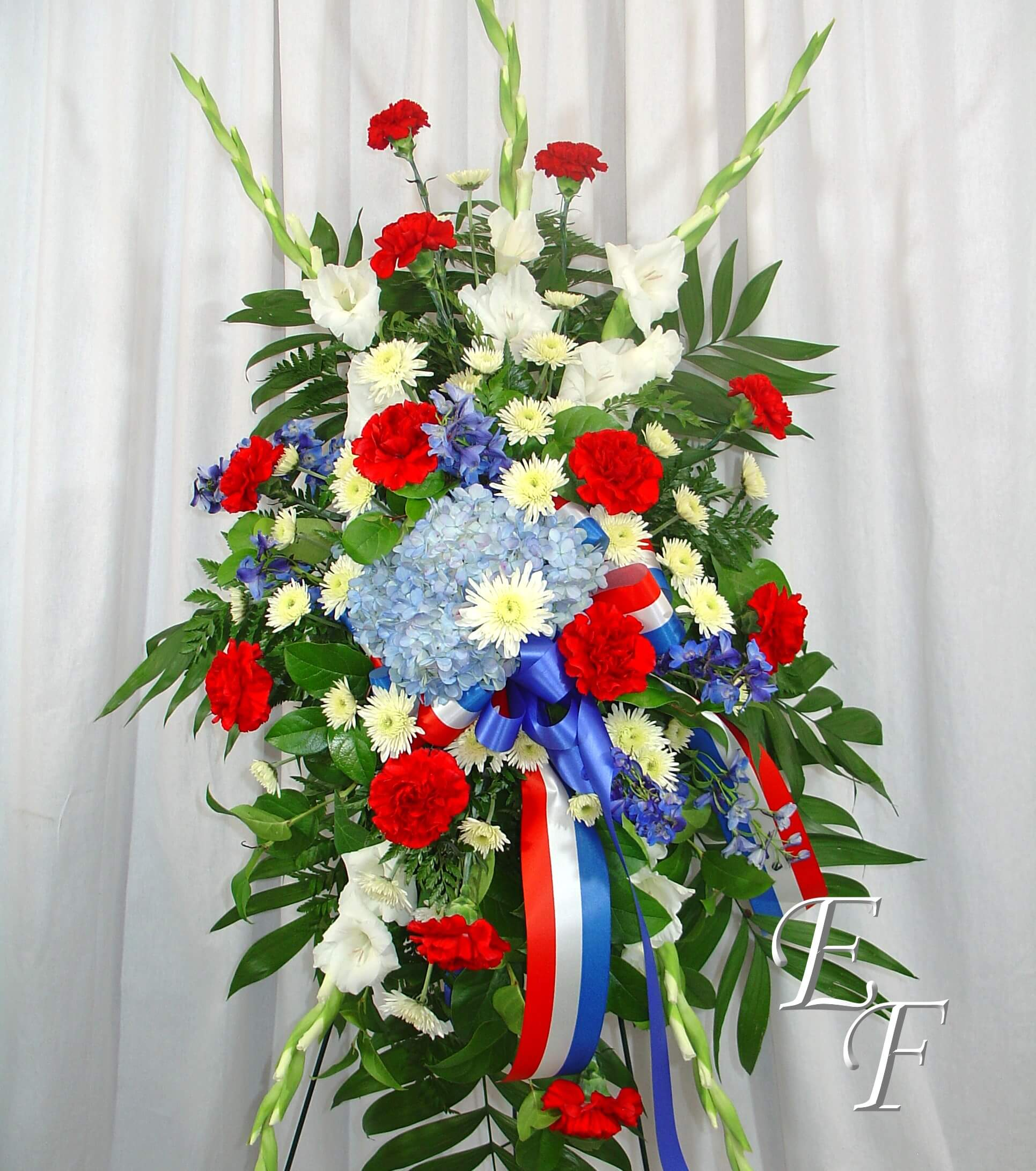 Military tribute standing spray ef 206 essex florist greenhouses 206 military standing spray izmirmasajfo Images