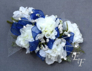 853 Silk White Miniature Carnation Corsage
