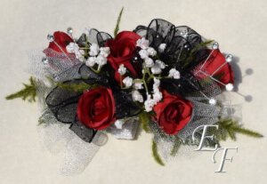 EF 852 Red Silk Rose Corsage