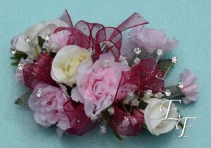 EF 857 White Rose & Pink Mini Carn Corsage