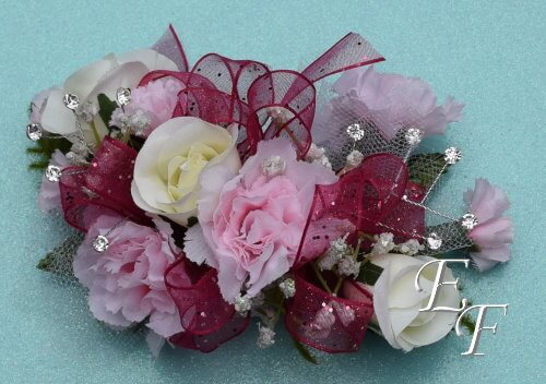 Silk deluxe white rose pink miniature carnation ef 857 essex ef 857 white rose pink mini carn corsage mightylinksfo