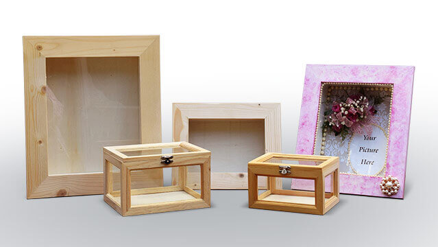 Selection of unfinished frames and memory box sizes.