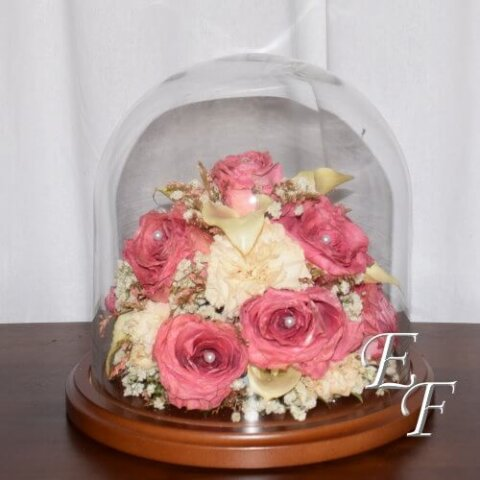 """Amsterdam Roses, Calla Lilies, & Carnations Preserved under an 8""""x 8"""" Dome"""