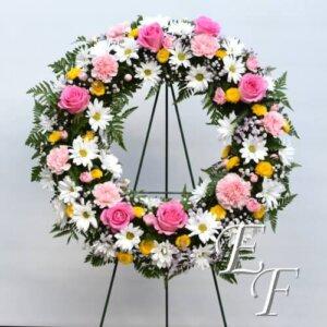 EF 208-T1 Spring Daisy Wreath