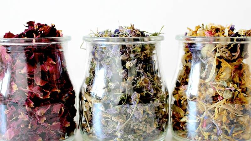 Glass jars filled with potpourri