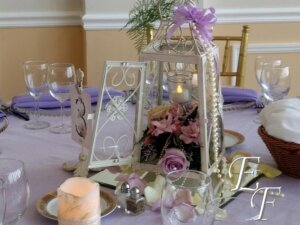 Floral centerpiece with a lantern